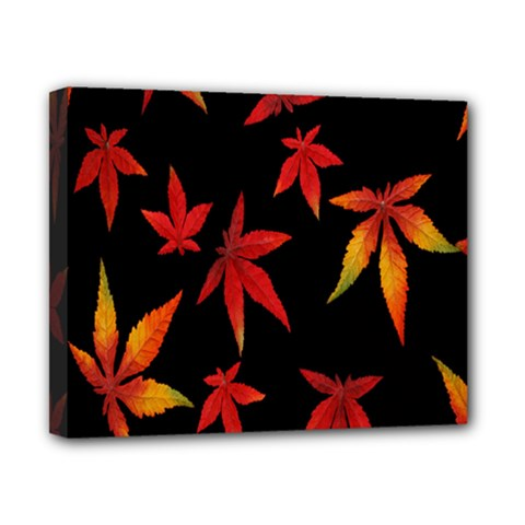 Colorful Autumn Leaves On Black Background Canvas 10  X 8  by Amaryn4rt