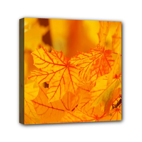 Bright Yellow Autumn Leaves Mini Canvas 6  X 6  by Amaryn4rt