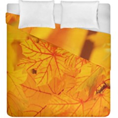 Bright Yellow Autumn Leaves Duvet Cover Double Side (king Size) by Amaryn4rt