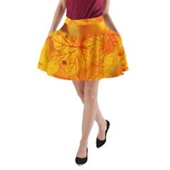 Bright Yellow Autumn Leaves A Line Pocket Skirt by Amaryn4rt
