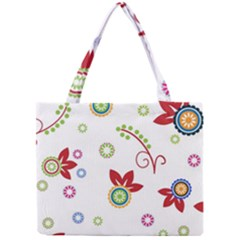 Colorful Floral Wallpaper Background Pattern Mini Tote Bag by Amaryn4rt