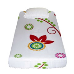 Colorful Floral Wallpaper Background Pattern Fitted Sheet (single Size) by Amaryn4rt