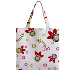 Colorful Floral Wallpaper Background Pattern Zipper Grocery Tote Bag by Amaryn4rt