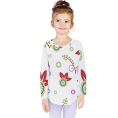 Colorful Floral Wallpaper Background Pattern Kids  Long Sleeve Tee by Amaryn4rt