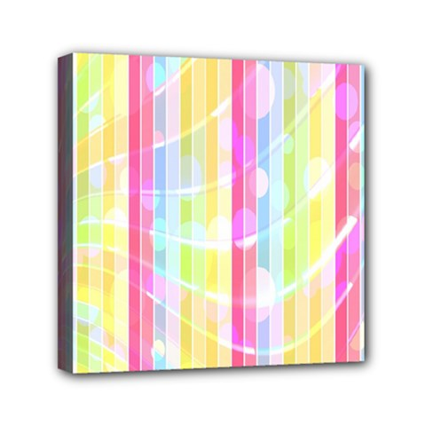 Colorful Abstract Stripes Circles And Waves Wallpaper Background Mini Canvas 6  X 6  by Amaryn4rt