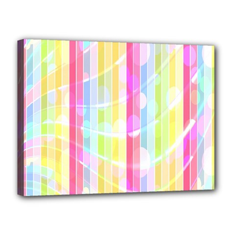 Colorful Abstract Stripes Circles And Waves Wallpaper Background Canvas 16  X 12  by Amaryn4rt