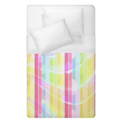 Colorful Abstract Stripes Circles And Waves Wallpaper Background Duvet Cover (single Size) by Amaryn4rt