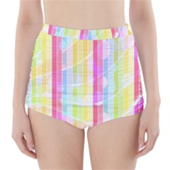 Colorful Abstract Stripes Circles And Waves Wallpaper Background High Waisted Bikini Bottoms by Amaryn4rt