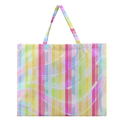 Colorful Abstract Stripes Circles And Waves Wallpaper Background Zipper Large Tote Bag by Amaryn4rt