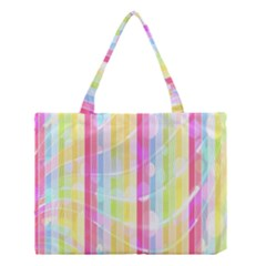 Colorful Abstract Stripes Circles And Waves Wallpaper Background Medium Tote Bag by Amaryn4rt