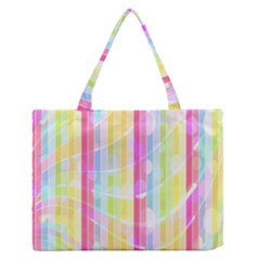 Colorful Abstract Stripes Circles And Waves Wallpaper Background Medium Zipper Tote Bag by Amaryn4rt