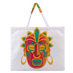 Mask Zipper Large Tote Bag by Valentinaart