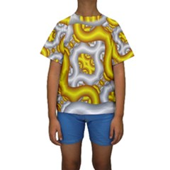 Fractal Background With Golden And Silver Pipes Kids  Short Sleeve Swimwear by Amaryn4rt