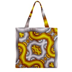 Fractal Background With Golden And Silver Pipes Zipper Grocery Tote Bag by Amaryn4rt