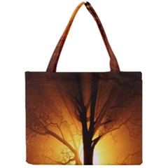 Rays Of Light Tree In Fog At Night Mini Tote Bag by Amaryn4rt