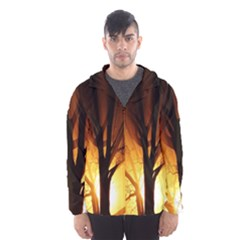Rays Of Light Tree In Fog At Night Hooded Wind Breaker (men) by Amaryn4rt