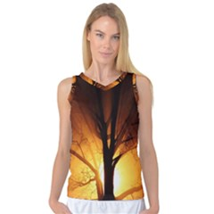 Rays Of Light Tree In Fog At Night Women s Basketball Tank Top by Amaryn4rt