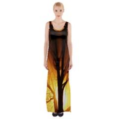 Rays Of Light Tree In Fog At Night Maxi Thigh Split Dress