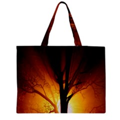 Rays Of Light Tree In Fog At Night Medium Tote Bag by Amaryn4rt