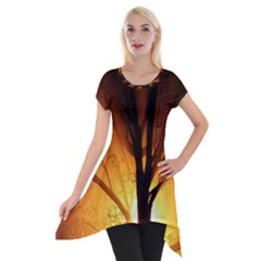 Rays Of Light Tree In Fog At Night Short Sleeve Side Drop Tunic by Amaryn4rt