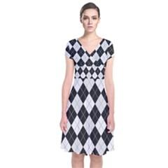 Plaid Pattern Short Sleeve Front Wrap Dress by Valentinaart