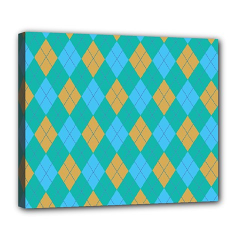 Plaid Pattern Deluxe Canvas 24  X 20   by Valentinaart