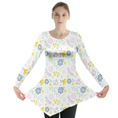 Vintage Spring Flower Pattern  Long Sleeve Tunic  by TastefulDesigns