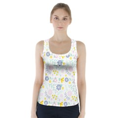 Vintage Spring Flower Pattern  Racer Back Sports Top by TastefulDesigns