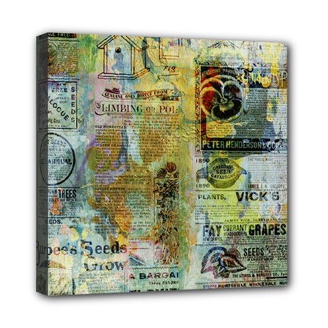 Old Newspaper And Gold Acryl Painting Collage Mini Canvas 8  X 8  by EDDArt