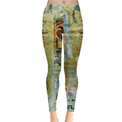 Old Newspaper And Gold Acryl Painting Collage Leggings  by EDDArt