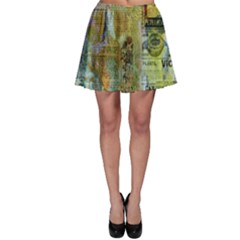 Old Newspaper And Gold Acryl Painting Collage Skater Skirt by EDDArt