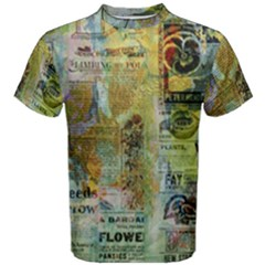 Old Newspaper And Gold Acryl Painting Collage Men s Cotton Tee by EDDArt