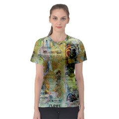 Old Newspaper And Gold Acryl Painting Collage Women s Sport Mesh Tee by EDDArt