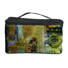 Old Newspaper And Gold Acryl Painting Collage Cosmetic Storage Case by EDDArt