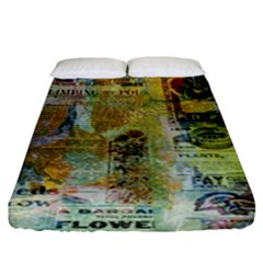 Old Newspaper And Gold Acryl Painting Collage Fitted Sheet (king Size) by EDDArt