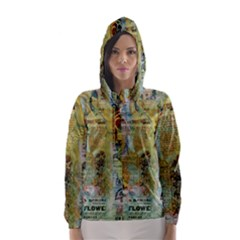 Old Newspaper And Gold Acryl Painting Collage Hooded Wind Breaker (women) by EDDArt