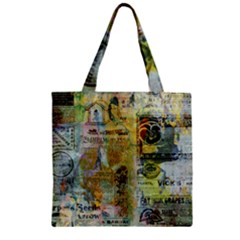 Old Newspaper And Gold Acryl Painting Collage Zipper Grocery Tote Bag by EDDArt