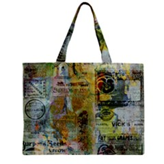 Old Newspaper And Gold Acryl Painting Collage Zipper Mini Tote Bag by EDDArt