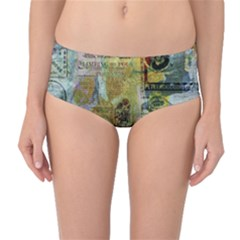 Old Newspaper And Gold Acryl Painting Collage Mid Waist Bikini Bottoms by EDDArt