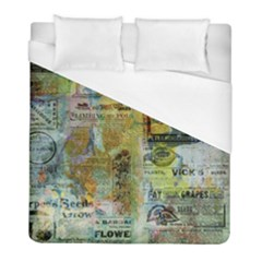 Old Newspaper And Gold Acryl Painting Collage Duvet Cover (full/ Double Size) by EDDArt