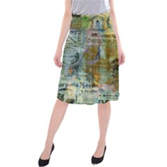 Old Newspaper And Gold Acryl Painting Collage Midi Beach Skirt by EDDArt