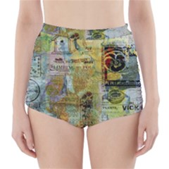 Old Newspaper And Gold Acryl Painting Collage High Waisted Bikini Bottoms by EDDArt