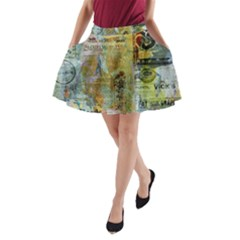 Old Newspaper And Gold Acryl Painting Collage A Line Pocket Skirt by EDDArt
