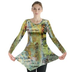 Old Newspaper And Gold Acryl Painting Collage Long Sleeve Tunic  by EDDArt