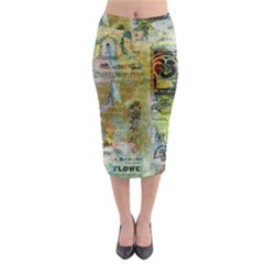 Old Newspaper And Gold Acryl Painting Collage Midi Pencil Skirt by EDDArt