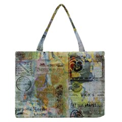 Old Newspaper And Gold Acryl Painting Collage Medium Zipper Tote Bag by EDDArt