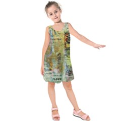 Old Newspaper And Gold Acryl Painting Collage Kids  Sleeveless Dress by EDDArt