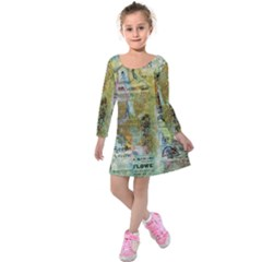 Old Newspaper And Gold Acryl Painting Collage Kids  Long Sleeve Velvet Dress by EDDArt