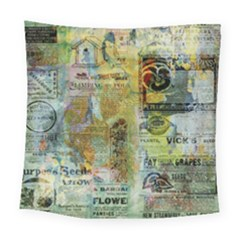 Old Newspaper And Gold Acryl Painting Collage Square Tapestry (large) by EDDArt