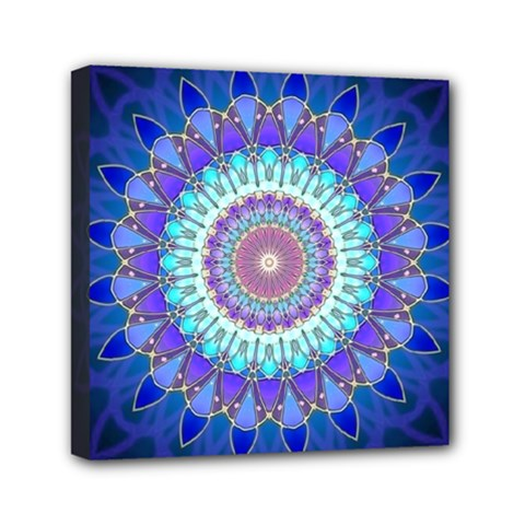Power Flower Mandala   Blue Cyan Violet Mini Canvas 6  X 6  by EDDArt